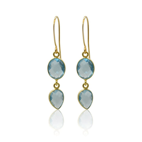 Tropical Aura Drop Earrings - Long Silver