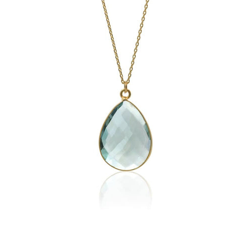 Aqua Dew Drop Gold Necklace Necklace