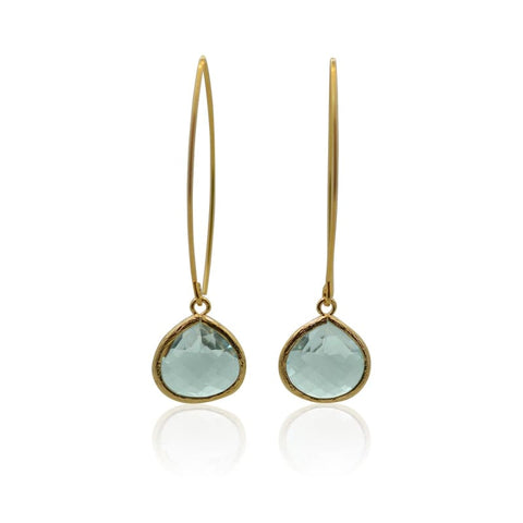 Aqua Mini Spike Earrings - Long Gold