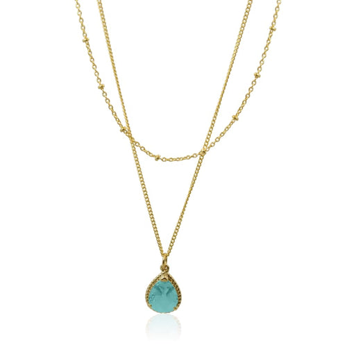 Aqua - Exquisite Double Strand Necklace Gold earrings