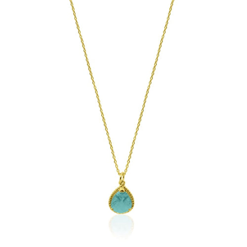 Aqua - Exquisite Single Strand Necklace Gold earrings