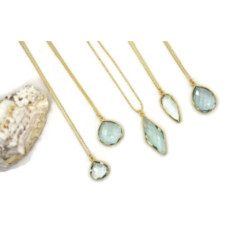 Aqua Gem Drop Necklace Earrings