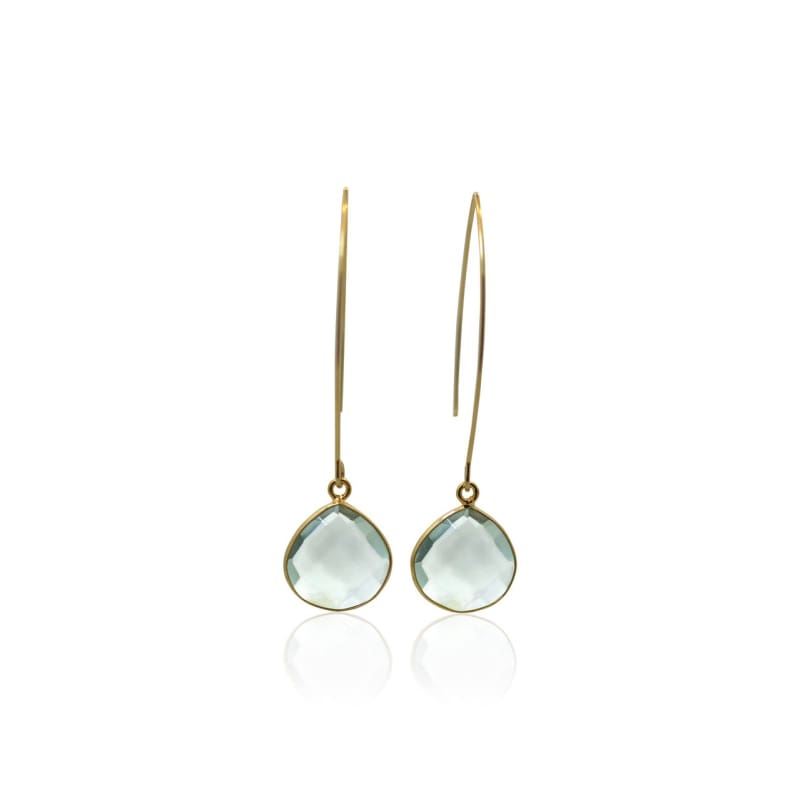 Aqua Gem Drops - Long Gold Earrings