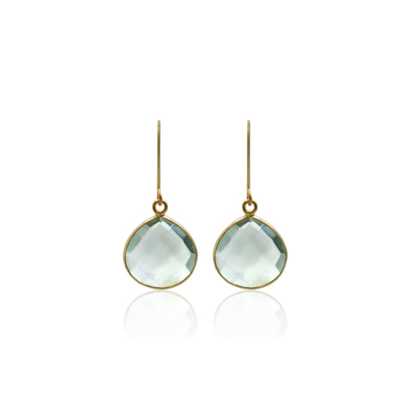 Aqua Gem Drops - Short Gold Earrings