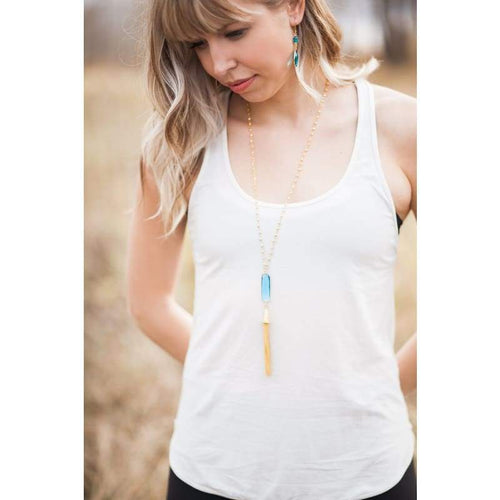 Aqua - Gold Tassel Necklace Necklace
