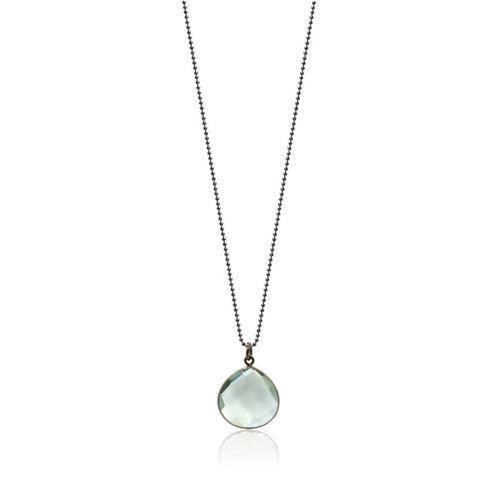 Aqua Gunmetal Drop Necklace