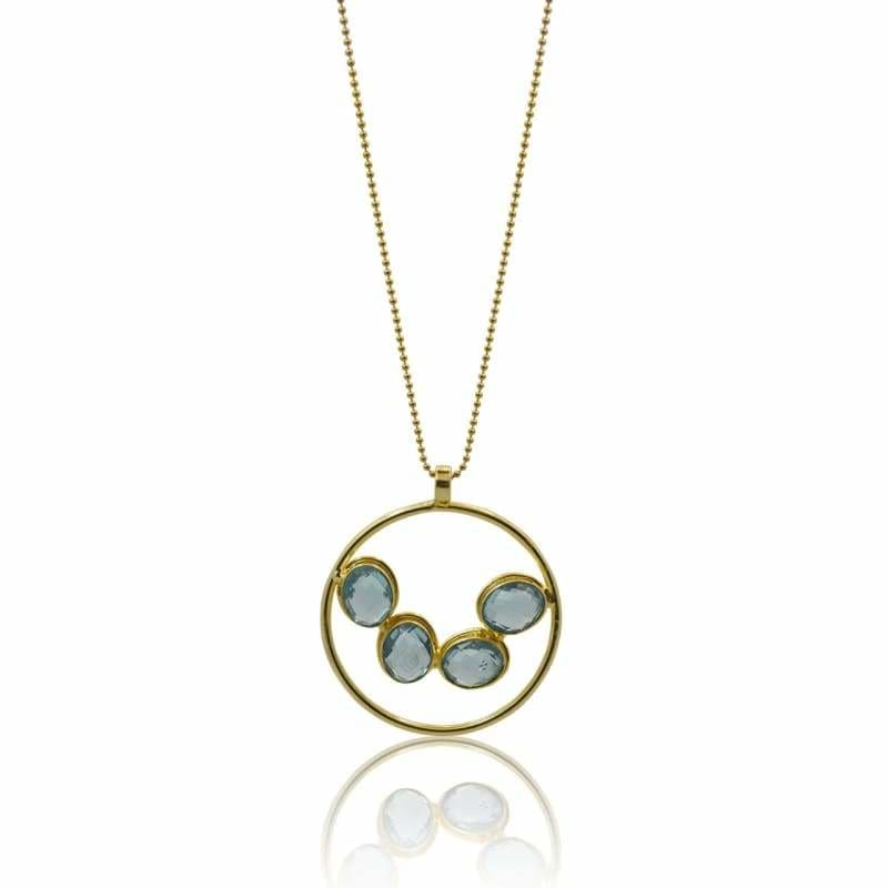 Aqua Medallion Necklace & Earring COMBO - Gold 30 necklace
