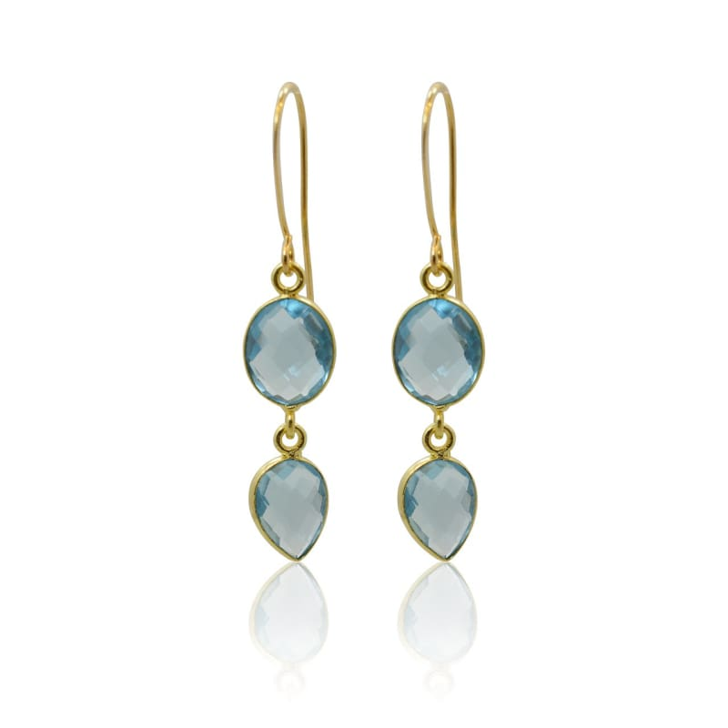 Aqua Medallion Necklace & Earring COMBO - Gold necklace