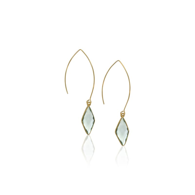 Aqua Mini Spike Earrings - Long Gold Earrings