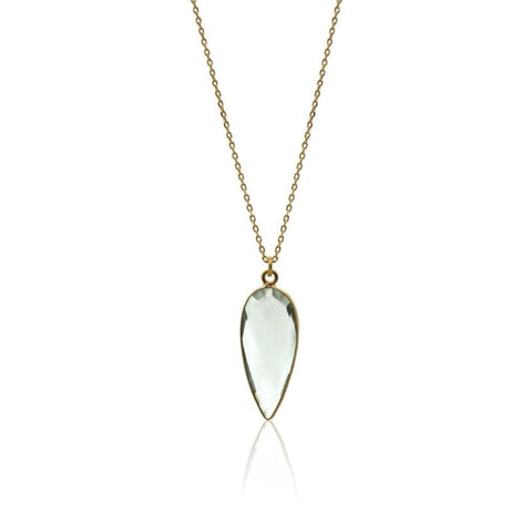 Crystal Drop Necklace - Silver