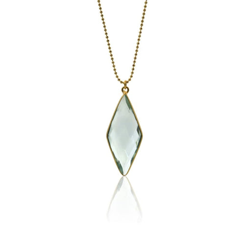 Aqua Spike Necklace - Long Gold Necklace