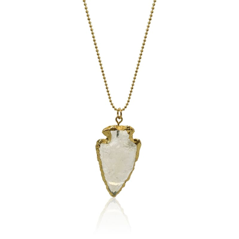 Arrow Head - Gold Quartz Necklace