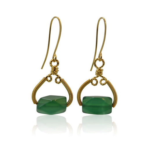 As Seen On Bones - Green Agate Earrings Earrings