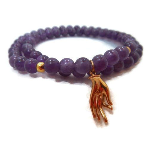 As Seen On Yogiapproved - Amethyst Yoga Jewelry- Peace And Balance Mudra Bracelet Bracelet