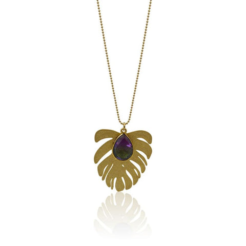 Peacock Aura Leaf & Pineapple Gold Necklace
