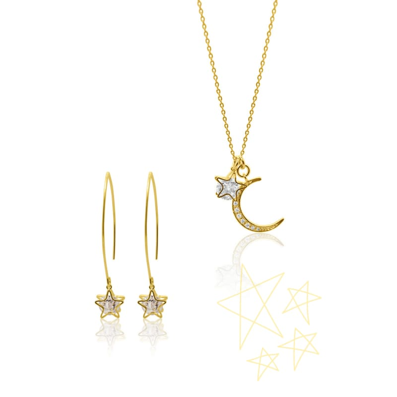 Aurora Crystal Moon Star Necklace - Gold necklace