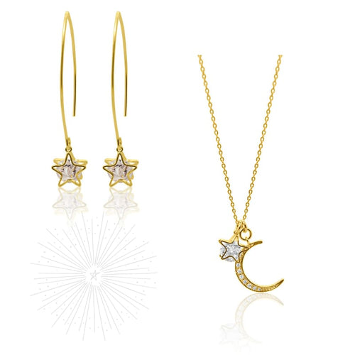 Aurora Crystal Star Earring & Necklace COMBO - Gold earrings