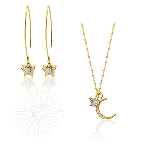 3 D Moon Earrings