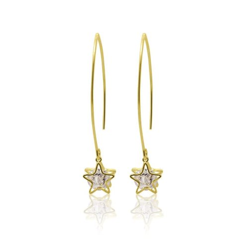 Aurora Crystal Star Earrings - Gold earrings