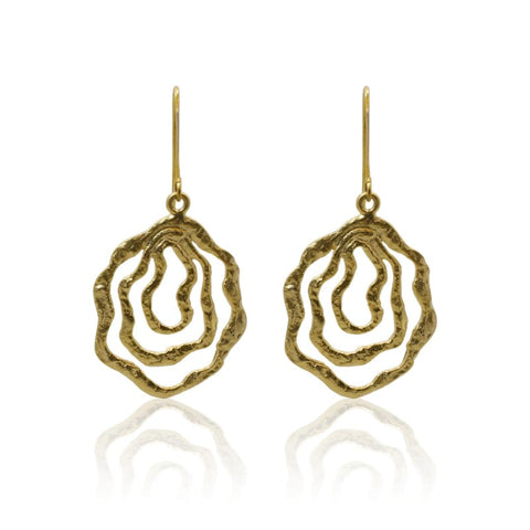 Tropical Aura 3 Bloom Plumeria Gold Earrings