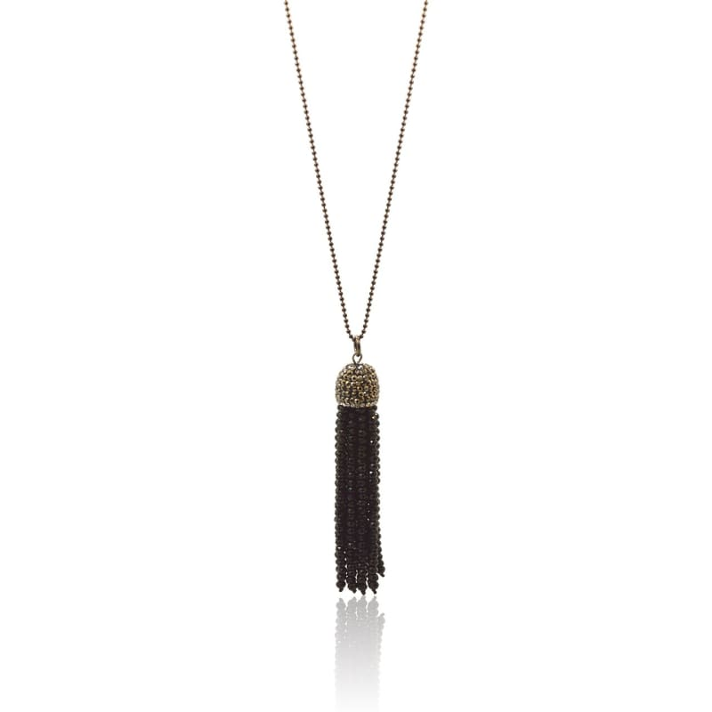 Beaded Tassel - Black Necklace