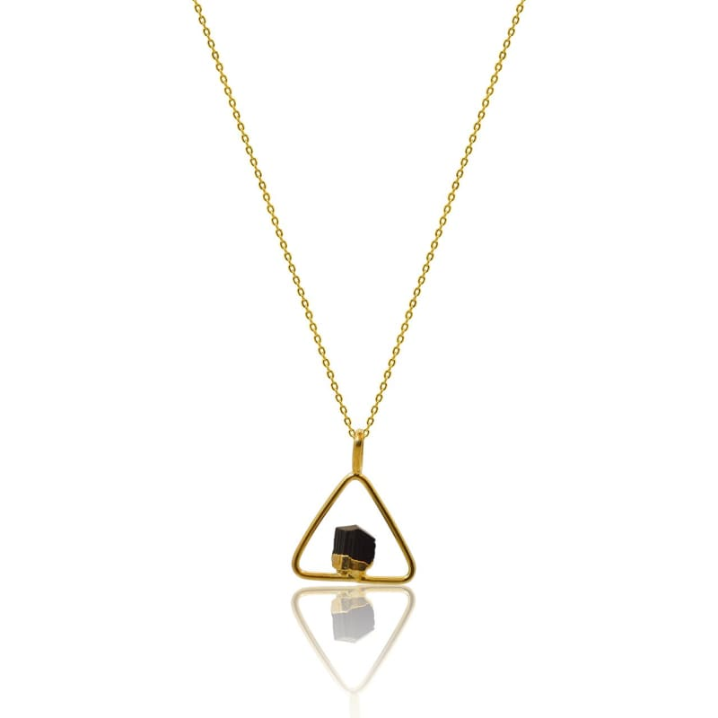 Black Tourmaline Power Necklace - Gold Necklace