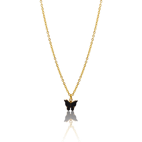 Black Butterfly Necklace  - Gold