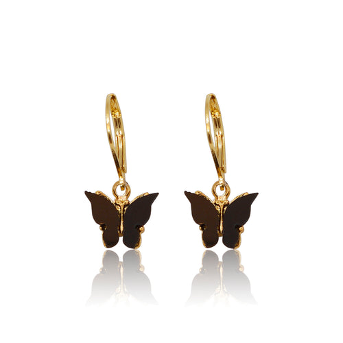 Black Butterfly Earrings - Gold