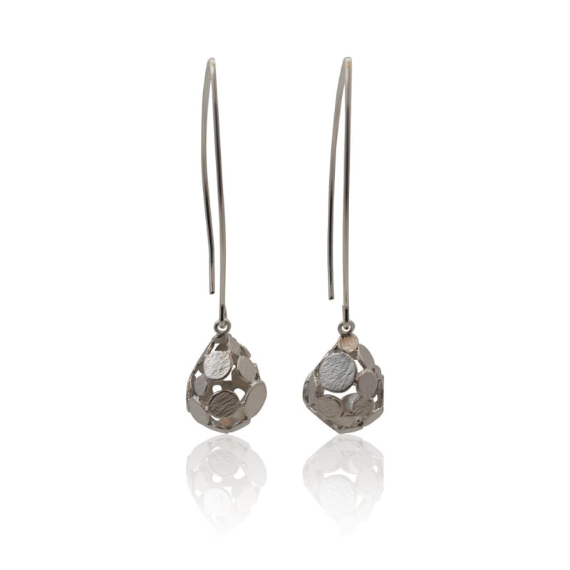 Brushed Metal Zen Drops - Long Silver Earrings Earrings