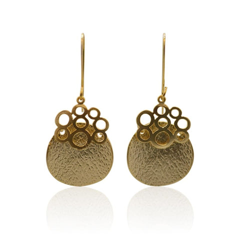Bird Nest Long Gold Earrings