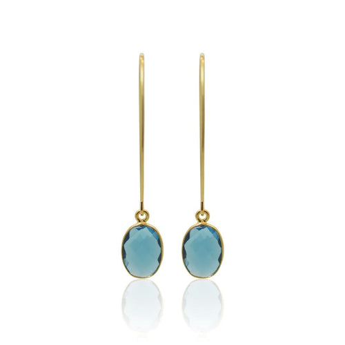 Capri Bezel Drops - Gold Earrings