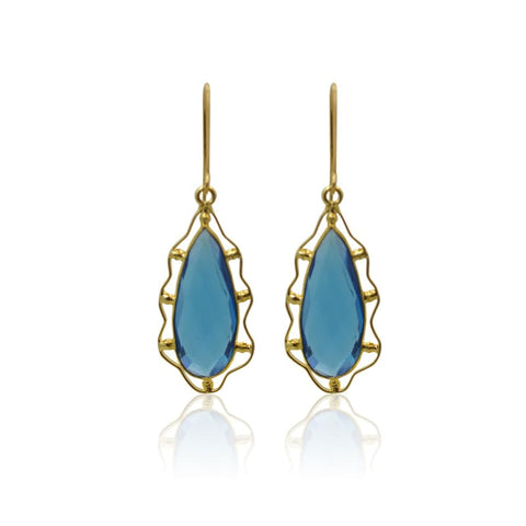 Aqua Gem Drops - Short Gold