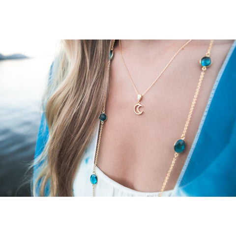 Aqua  - Tassel Necklace