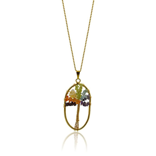 Chakra Gemstone Tree Of Life Necklace - Gold Necklace