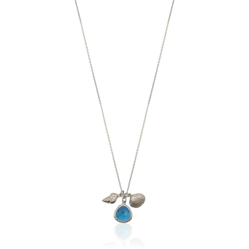 Cleo Mini Drop Crystal & Clam Shell Necklace - Silver 16 earrings