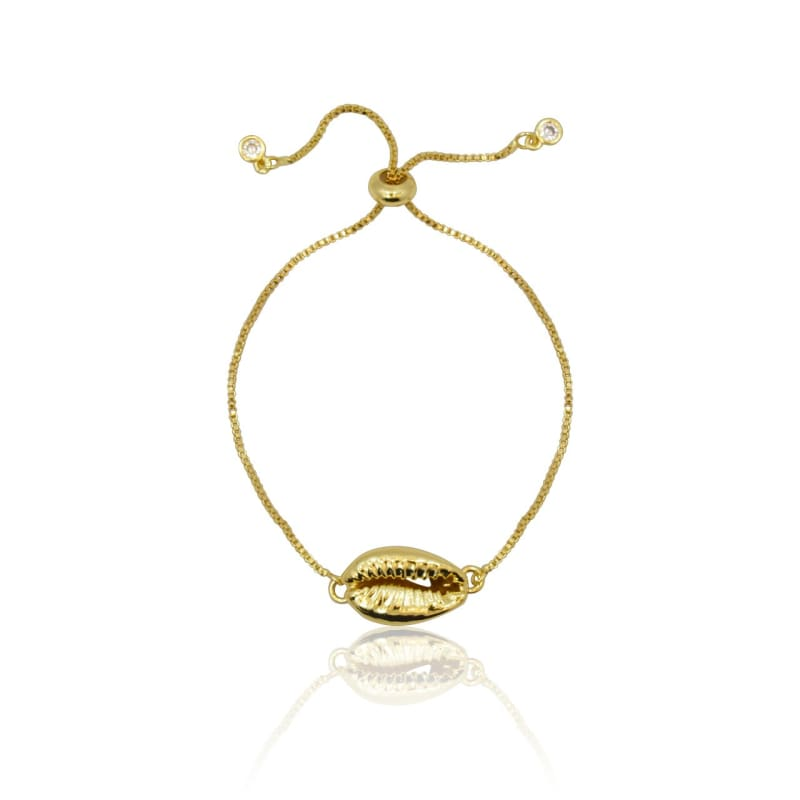 Cowrie Shell - Adjustable Bracelet - Gold Bracelet