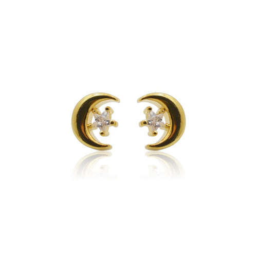 Crescent Moon Star Crystal MINI Stud Earrings - Gold earrings