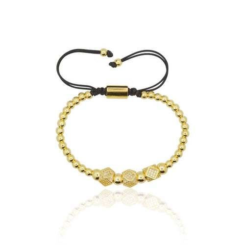 Crystal 3 Piece Hex Ball Macrame Bracelet - Gold