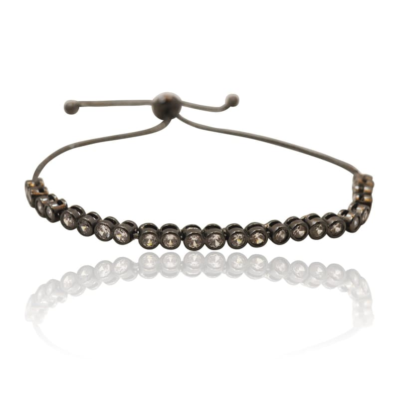 Crystal - Adjustable Bracelet - Gunmetal bracelet