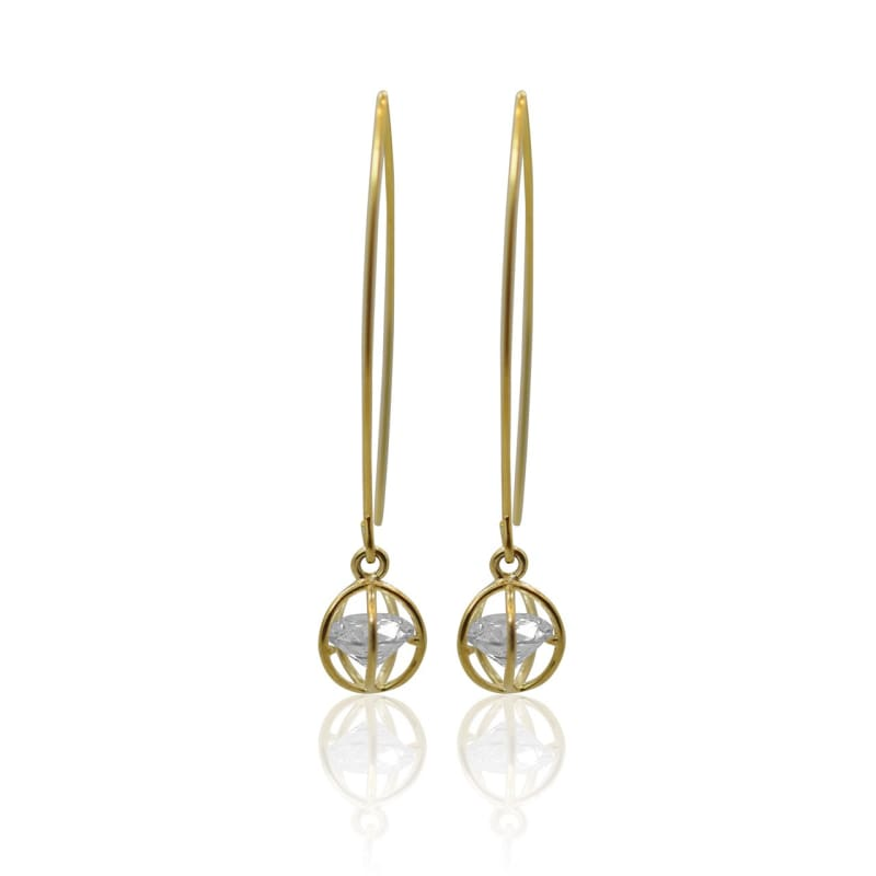 Crystal Ball Earrings - Gold Earrings