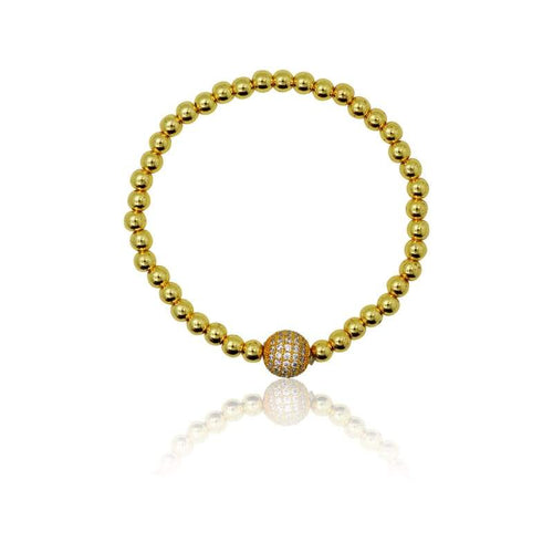Gold Crystal Ball Stretch Bracelet Bracelet