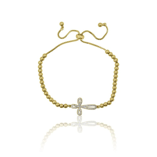 Crystal Cross Adjustable Bracelet - Gold bracelet