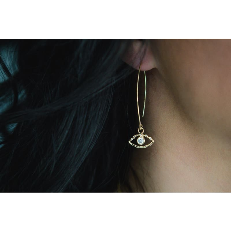 Crystal Eye - Long Gold earrings
