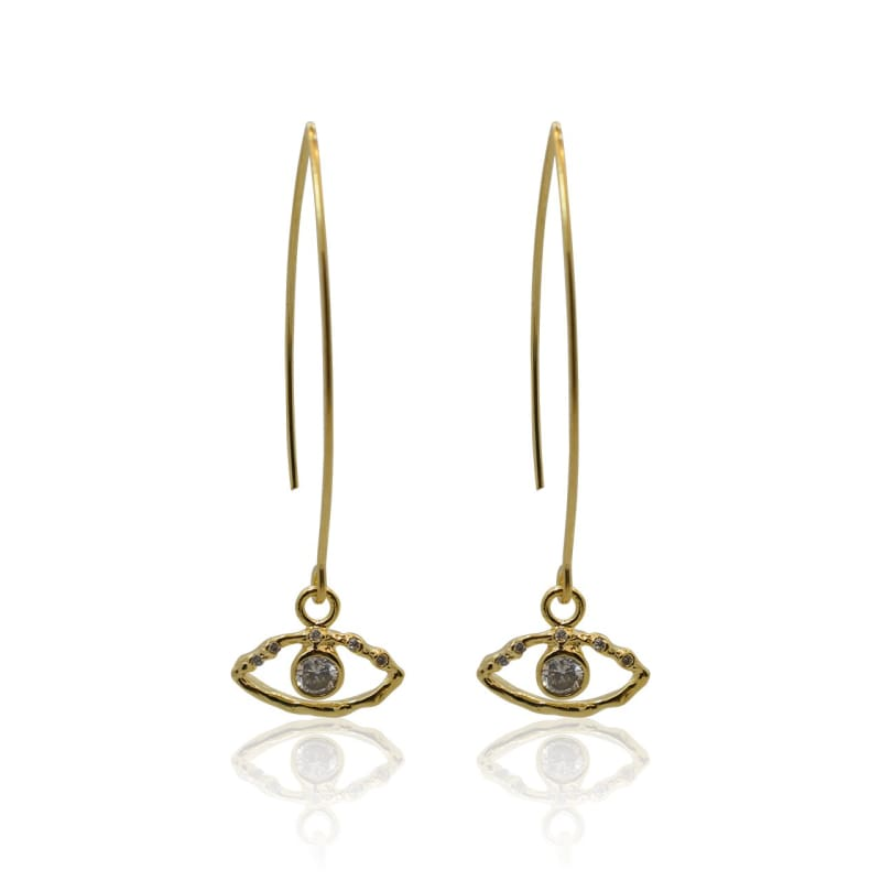 Crystal Eye Necklace & Earring COMBO - Gold earrings