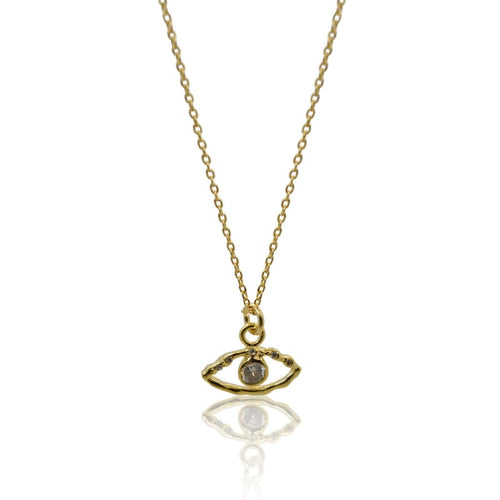 Crystal Eye Necklace - Gold earrings