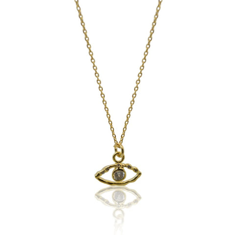 Crystal Eye Necklace & Earring COMBO - Gold
