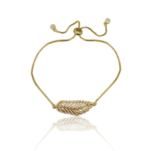 Crystal Leaf Adjustable Bracelet - Gold bracelet