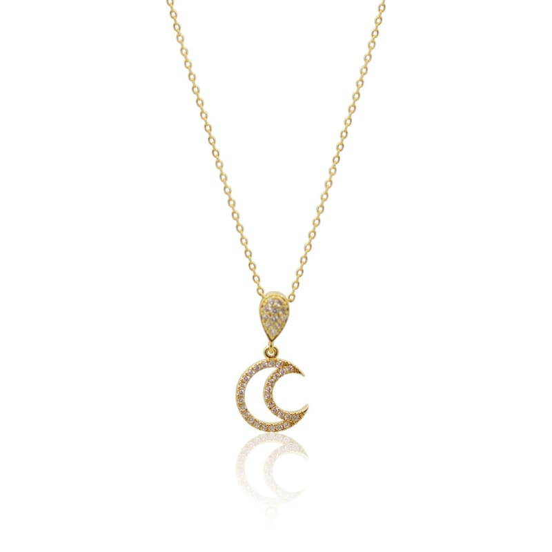 Crystal Moon Necklace - Gold Necklace