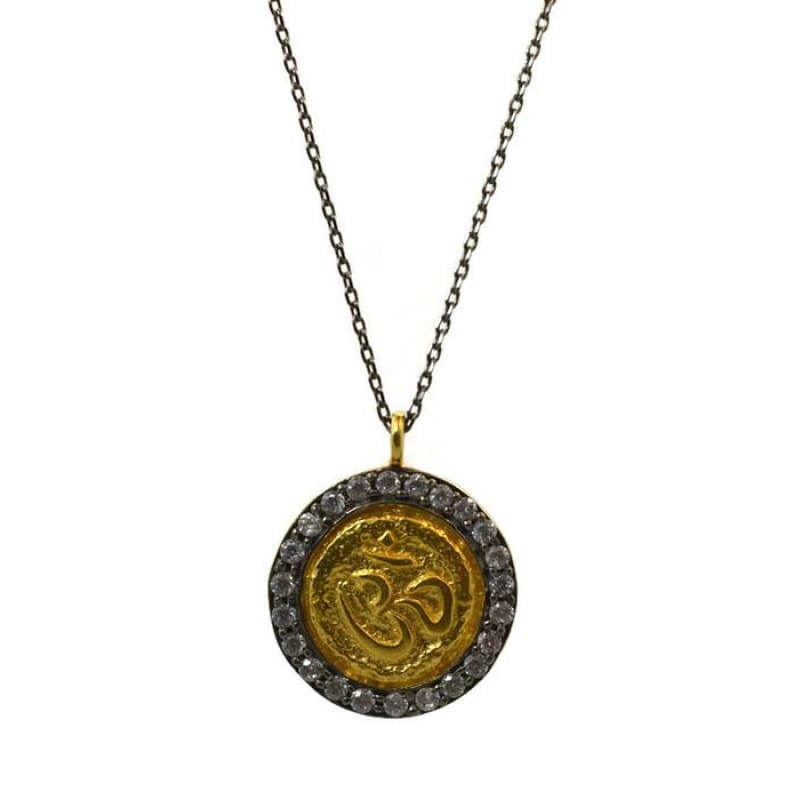 Crystal Om Medallion Necklace Necklace