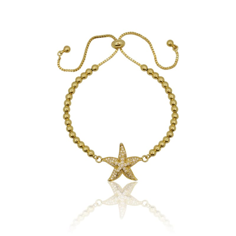 Crystal Starfish Adjustable Bracelet - Gold Bracelet